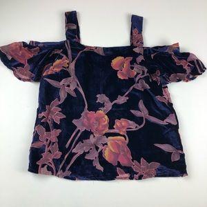 Lucky Brand velvet floral ruffle cold shoulder XS